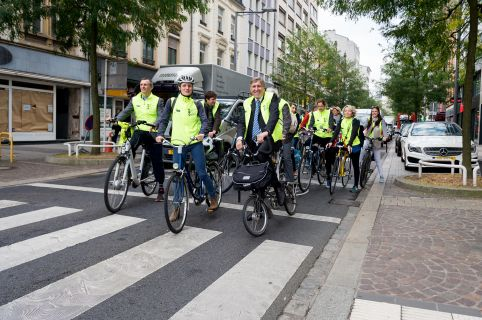 The Minister François Bausch on his bicycle for the first Bike Bus in Luxembourg