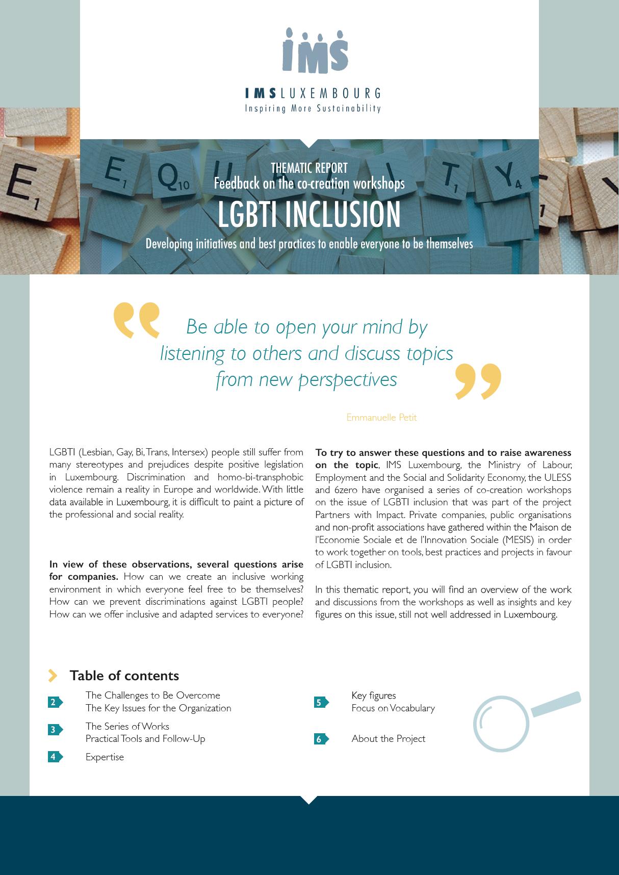 Rapport thématique : l'inclusion des personnes LGBTI